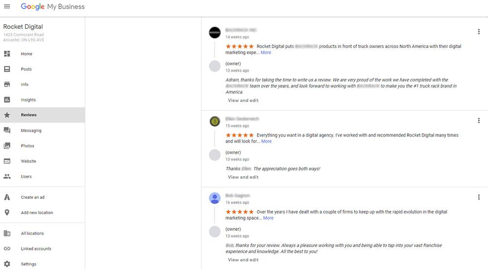 Google MyBusiness Reviews